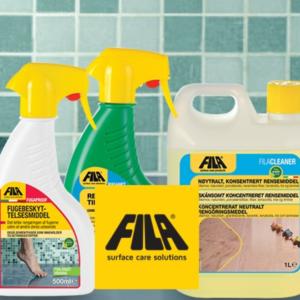 rengørings og plejemidler til fliser Fila